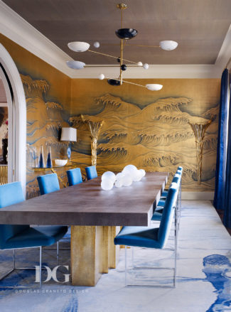 modern dining table and Asian waves art on walls